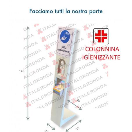 COLONNINA PORTA IGIENIZZANTE IN LAMIERA ZINCATA VERNICIATA RAL.9010