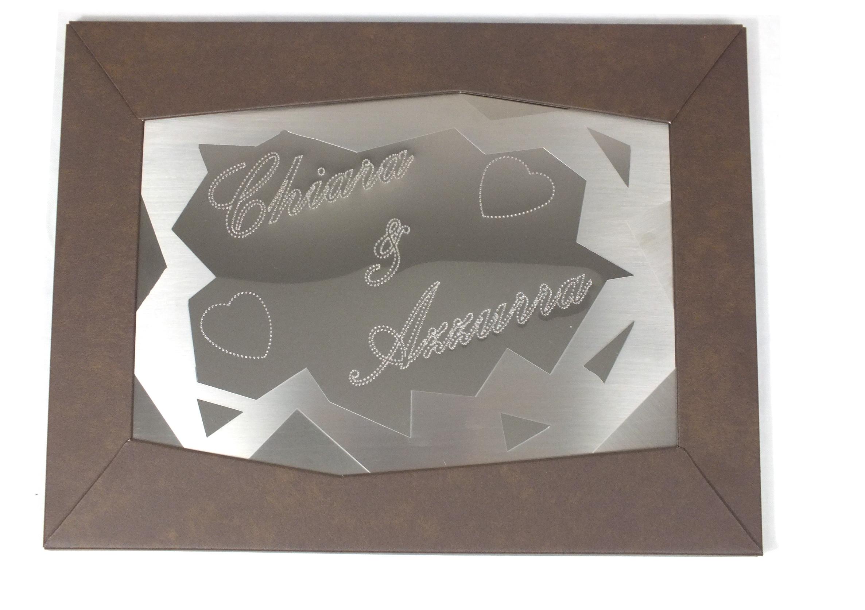 Quadro con cornice in alluminio corten + cuore in acciaio inox lucido + satinato, punzonato