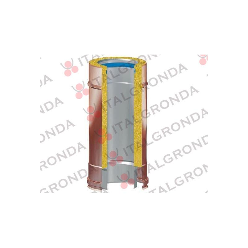 TUBO COIBENTATO FUMI ESTERNO RAME INTERNO INOX 316 DA CM25 Ø80-100-130-150-180-200-250-300-350 mm