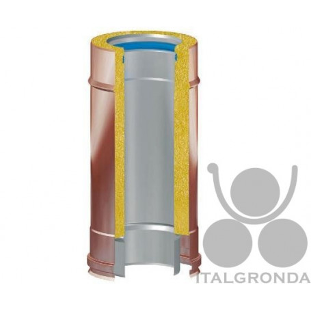TUBO COIBENTATO FUMI RAME/INOX 316 DA CM25
